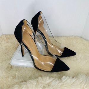 Shoe Republic LA Clear Pumps Black Size 8